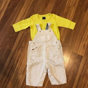 Baby GAP long sleeve shirt with lined overalls
